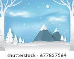 winter and snow in forest with... | Shutterstock .eps vector #677827564