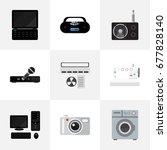 set of 9 editable technology...   Shutterstock .eps vector #677828140