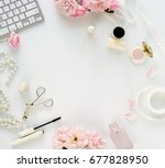 flat lay  top view office... | Shutterstock . vector #677828950