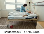 middle age woman patient with... | Shutterstock . vector #677836306