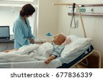 middle age woman patient with... | Shutterstock . vector #677836339