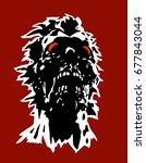 danger zombie head concept with ... | Shutterstock .eps vector #677843044