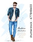 stylish handsome man in fashion ... | Shutterstock .eps vector #677848603