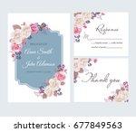 wedding floral template... | Shutterstock .eps vector #677849563