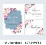 wedding floral template... | Shutterstock .eps vector #677849566
