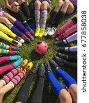 club soccer team sitting around ... | Shutterstock . vector #677858038