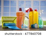 assorted cleaning products | Shutterstock . vector #677860708