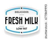 milk label vintage blue  vector   Shutterstock .eps vector #677869993