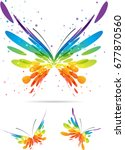set colorful butterflies | Shutterstock .eps vector #677870560