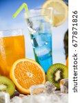 variety of cold drinks  summer | Shutterstock . vector #677871826