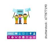 group of people demonstrating... | Shutterstock .eps vector #677877190
