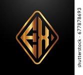Stock vector golden monogram logo curved oval shape initial letter ex logo vector 677878693