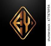 golden monogram logo curved... | Shutterstock .eps vector #677878954