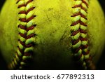 Yellow Softball Closeup With...