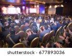 disfocus of speakers on the... | Shutterstock . vector #677893036