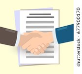 handshake. conclusion of the... | Shutterstock .eps vector #677900170