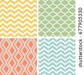 4 vector geometric seamless... | Shutterstock .eps vector #677905330