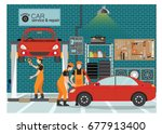 car service and repair center... | Shutterstock .eps vector #677913400