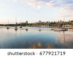 yachts on the water in early... | Shutterstock . vector #677921719