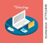 laptop technology with data... | Shutterstock .eps vector #677921848