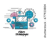 future technologies with global ... | Shutterstock .eps vector #677923804