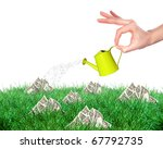 Hand With A Small Watering Can...
