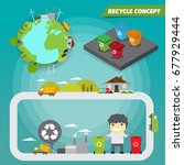 recycle concept.save the earth... | Shutterstock .eps vector #677929444