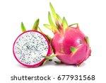 dragon fruit isolated on white... | Shutterstock . vector #677931568