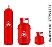propane gas cylinders set on a... | Shutterstock .eps vector #677935978