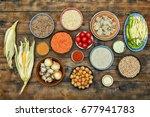 assorted raw indian cuisine on... | Shutterstock . vector #677941783