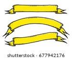 set of hand drawn banner vector ... | Shutterstock .eps vector #677942176