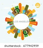 los angeles skyline with color... | Shutterstock . vector #677942959