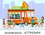 street food truck on city... | Shutterstock .eps vector #677943694