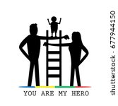 you are my hero.happy parent... | Shutterstock .eps vector #677944150