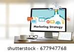 marketing strategy technology... | Shutterstock . vector #677947768