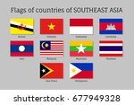set of flat flags of members of ... | Shutterstock . vector #677949328