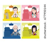 people drive a car  | Shutterstock .eps vector #677950144