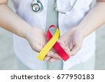 red and yellow awareness ribbon ... | Shutterstock . vector #677950183