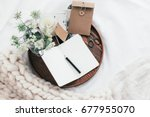 top view of wooden tray with... | Shutterstock . vector #677955070