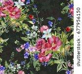 bouquet from different... | Shutterstock . vector #677956150