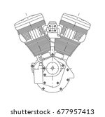 technical drawing of the engine ...   Shutterstock . vector #677957413