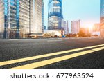 asphalt road in lujiazui... | Shutterstock . vector #677963524