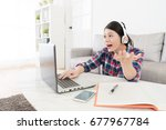 beautiful pretty female student ... | Shutterstock . vector #677967784