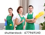 cleaning service team working...   Shutterstock . vector #677969140