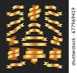 set of hand drawn gold satin... | Shutterstock .eps vector #677969419