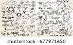big set of vintage vector... | Shutterstock .eps vector #677971630