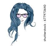 fashion style. sketch. beauty... | Shutterstock .eps vector #677973640