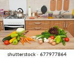 fresh fruits and vegetables on... | Shutterstock . vector #677977864