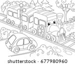 cartoon train train and car... | Shutterstock . vector #677980960