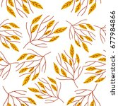 seamless autumn pattern with...   Shutterstock .eps vector #677984866